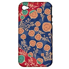 Floral Seamless Pattern Vector Texture Apple iPhone 4/4S Hardshell Case (PC+Silicone)