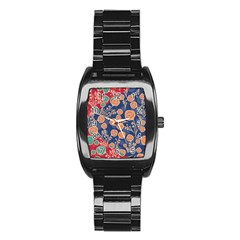 Floral Seamless Pattern Vector Texture Stainless Steel Barrel Watch