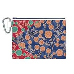 Floral Seamless Pattern Vector Texture Canvas Cosmetic Bag (l)