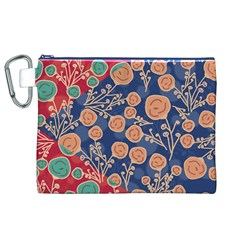 Floral Seamless Pattern Vector Texture Canvas Cosmetic Bag (xl)