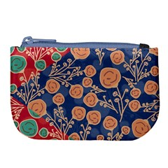 Floral Seamless Pattern Vector Texture Large Coin Purse
