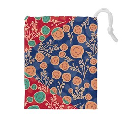 Floral Seamless Pattern Vector Texture Drawstring Pouches (Extra Large)