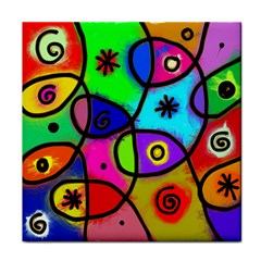 Digitally Painted Colourful Abstract Whimsical Shape Pattern Tile Coasters