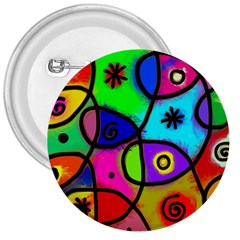 Digitally Painted Colourful Abstract Whimsical Shape Pattern 3  Buttons