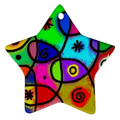 Digitally Painted Colourful Abstract Whimsical Shape Pattern Ornament (star)