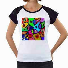 Digitally Painted Colourful Abstract Whimsical Shape Pattern Women s Cap Sleeve T