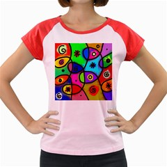 Digitally Painted Colourful Abstract Whimsical Shape Pattern Women s Cap Sleeve T Shirt