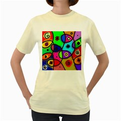 Digitally Painted Colourful Abstract Whimsical Shape Pattern Women s Yellow T Shirt