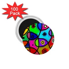 Digitally Painted Colourful Abstract Whimsical Shape Pattern 1 75  Magnets (100 Pack)