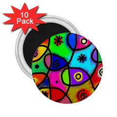 Digitally Painted Colourful Abstract Whimsical Shape Pattern 2.25  Magnets (10 pack)