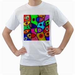 Digitally Painted Colourful Abstract Whimsical Shape Pattern Men s T Shirt (white) (two Sided)
