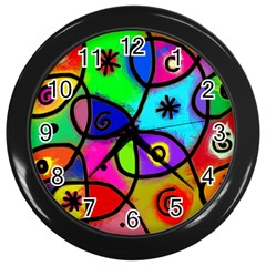 Digitally Painted Colourful Abstract Whimsical Shape Pattern Wall Clocks (Black)