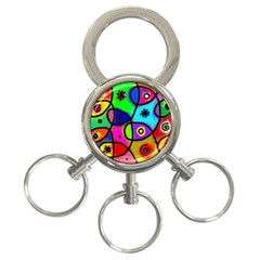 Digitally Painted Colourful Abstract Whimsical Shape Pattern 3 Ring Key Chains