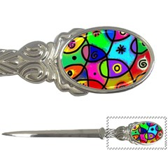 Digitally Painted Colourful Abstract Whimsical Shape Pattern Letter Openers