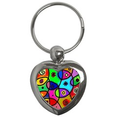Digitally Painted Colourful Abstract Whimsical Shape Pattern Key Chains (Heart)