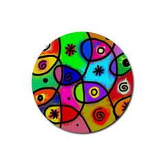 Digitally Painted Colourful Abstract Whimsical Shape Pattern Rubber Round Coaster (4 Pack)