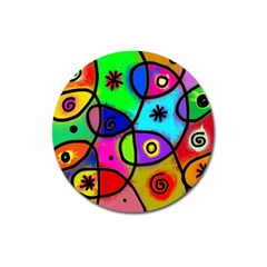 Digitally Painted Colourful Abstract Whimsical Shape Pattern Magnet 3  (Round)