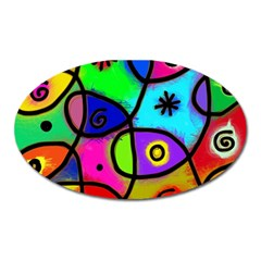Digitally Painted Colourful Abstract Whimsical Shape Pattern Oval Magnet