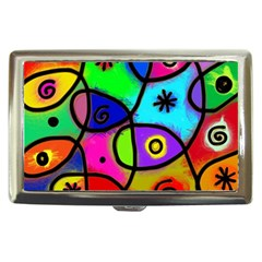 Digitally Painted Colourful Abstract Whimsical Shape Pattern Cigarette Money Cases