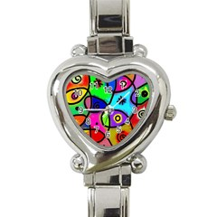 Digitally Painted Colourful Abstract Whimsical Shape Pattern Heart Italian Charm Watch
