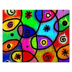 Digitally Painted Colourful Abstract Whimsical Shape Pattern Rectangular Jigsaw Puzzl