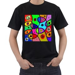 Digitally Painted Colourful Abstract Whimsical Shape Pattern Men s T Shirt (black) (two Sided)