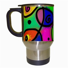 Digitally Painted Colourful Abstract Whimsical Shape Pattern Travel Mugs (white)
