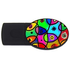 Digitally Painted Colourful Abstract Whimsical Shape Pattern USB Flash Drive Oval (4 GB)