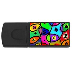 Digitally Painted Colourful Abstract Whimsical Shape Pattern Usb Flash Drive Rectangular (4 Gb)