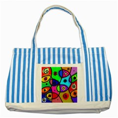 Digitally Painted Colourful Abstract Whimsical Shape Pattern Striped Blue Tote Bag