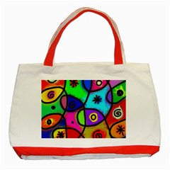 Digitally Painted Colourful Abstract Whimsical Shape Pattern Classic Tote Bag (red)