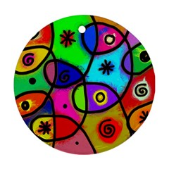 Digitally Painted Colourful Abstract Whimsical Shape Pattern Round Ornament (two Sides)