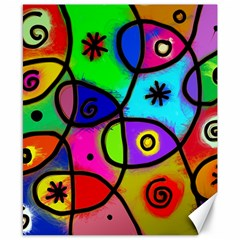Digitally Painted Colourful Abstract Whimsical Shape Pattern Canvas 8  X 10