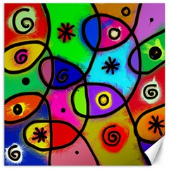 Digitally Painted Colourful Abstract Whimsical Shape Pattern Canvas 20  x 20