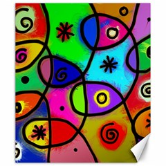 Digitally Painted Colourful Abstract Whimsical Shape Pattern Canvas 20  x 24