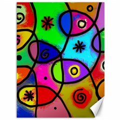 Digitally Painted Colourful Abstract Whimsical Shape Pattern Canvas 36  x 48