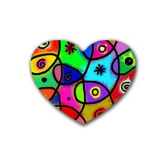 Digitally Painted Colourful Abstract Whimsical Shape Pattern Heart Coaster (4 pack)