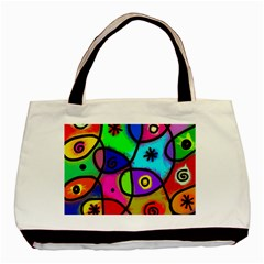 Digitally Painted Colourful Abstract Whimsical Shape Pattern Basic Tote Bag (Two Sides)