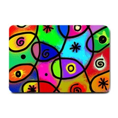 Digitally Painted Colourful Abstract Whimsical Shape Pattern Small Doormat