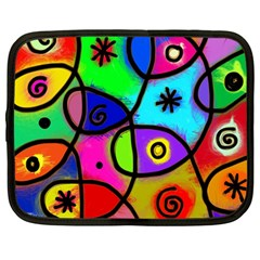 Digitally Painted Colourful Abstract Whimsical Shape Pattern Netbook Case (large)
