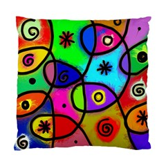 Digitally Painted Colourful Abstract Whimsical Shape Pattern Standard Cushion Case (one Side)