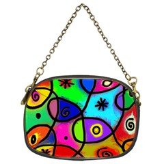 Digitally Painted Colourful Abstract Whimsical Shape Pattern Chain Purses (Two Sides)