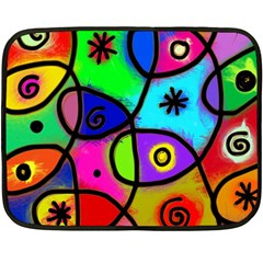 Digitally Painted Colourful Abstract Whimsical Shape Pattern Fleece Blanket (Mini)