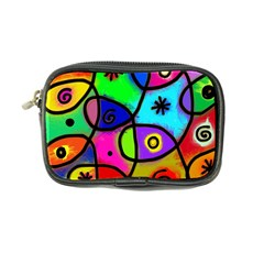 Digitally Painted Colourful Abstract Whimsical Shape Pattern Coin Purse