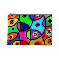 Digitally Painted Colourful Abstract Whimsical Shape Pattern Cosmetic Bag (Large)