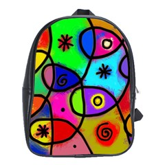 Digitally Painted Colourful Abstract Whimsical Shape Pattern School Bags(Large)