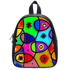 Digitally Painted Colourful Abstract Whimsical Shape Pattern School Bags (Small)