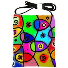 Digitally Painted Colourful Abstract Whimsical Shape Pattern Shoulder Sling Bags
