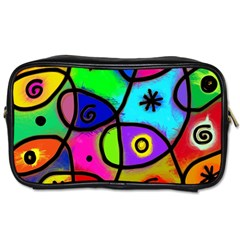 Digitally Painted Colourful Abstract Whimsical Shape Pattern Toiletries Bags 2-Side