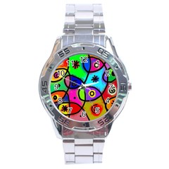 Digitally Painted Colourful Abstract Whimsical Shape Pattern Stainless Steel Analogue Watch